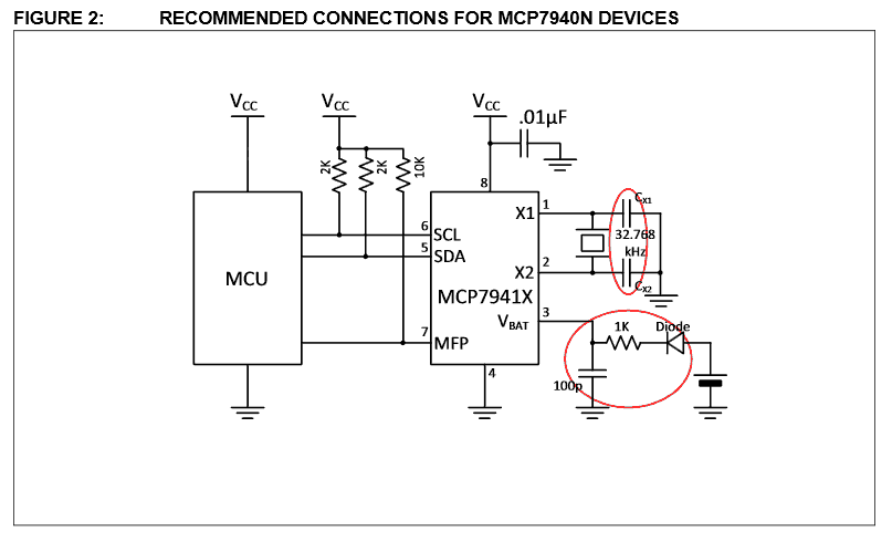 MCP7940N AppNote Example Schematic