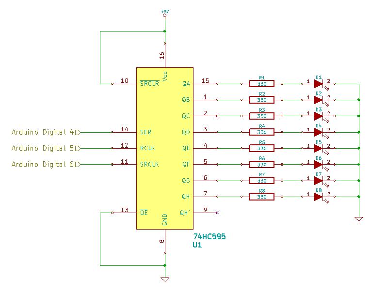 74HC595 Shift Register Schematic