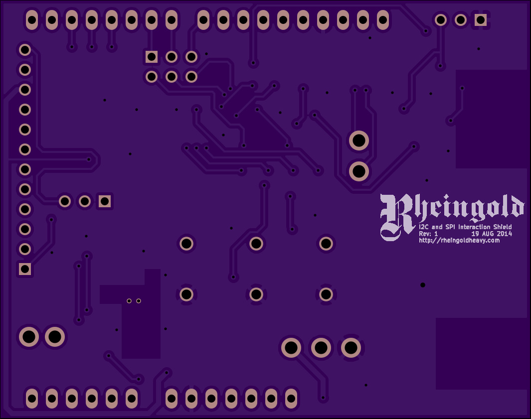 I2C and SPI Interaction Shield Rev1 PCB Back