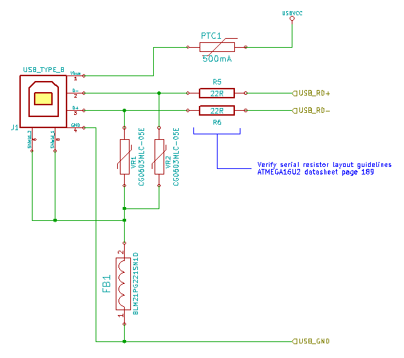 Arduino UNO R3 KiCad Schematic USB Connection