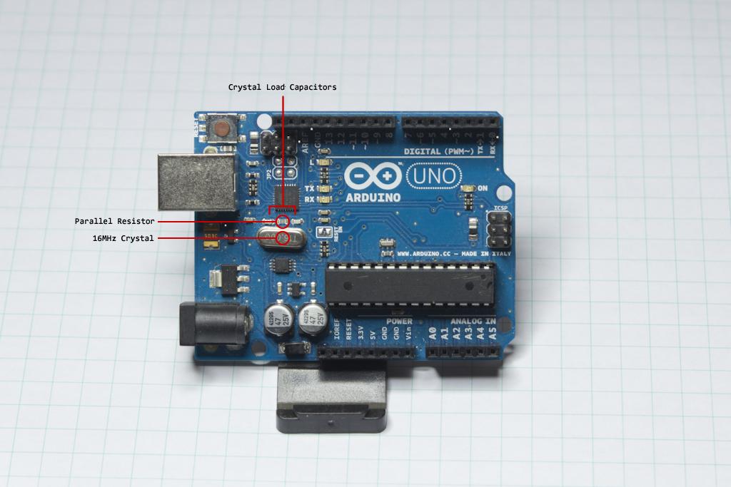 Arduino UNO R3 Annotated ATMEGA16U2 Oscillator Circuit