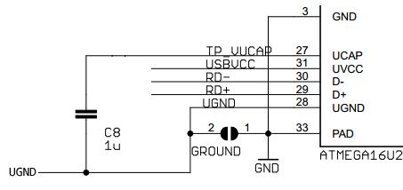Arduino UNO ATMEGA16U2 USB Pins