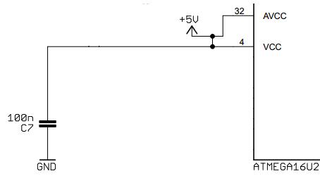 Arduino UNO ATMEGA16U2 Supply Voltage