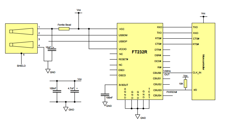 FTDI Application Example Schematic